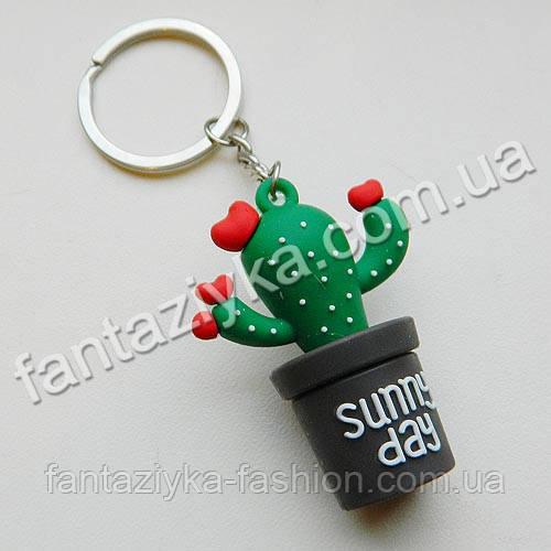 Резиновый брелок Кактус зеленый