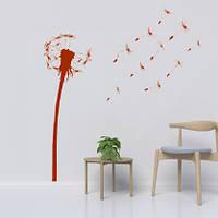 Виниловая декоративная наклейка Одуванчик (цветы, самоклеющаяся пленка) матовый коричневый 460х1200 мм