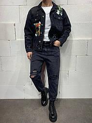 😝 Джинсы - Черные мужские джинсы бойфренды (мом) широкие