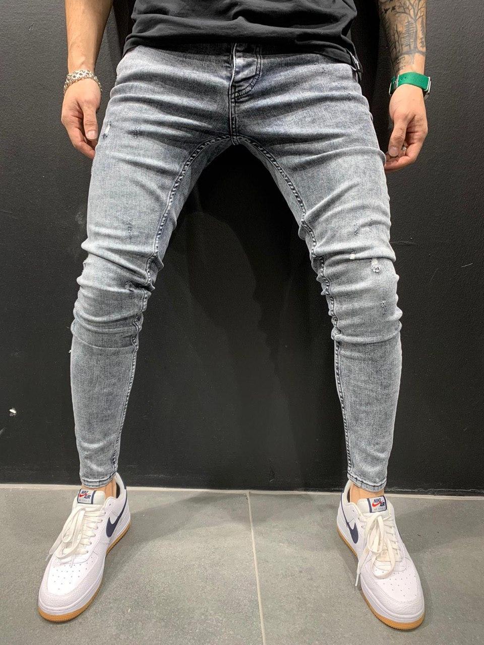 😝 Джинсы - Мужские джинсы (светло-серые)