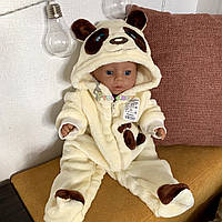 """Человечек детский теплый """"Панда"""" молочный с капюшоном и ушками (махра), 0-3, 3-6, 6-9 месяцев"""