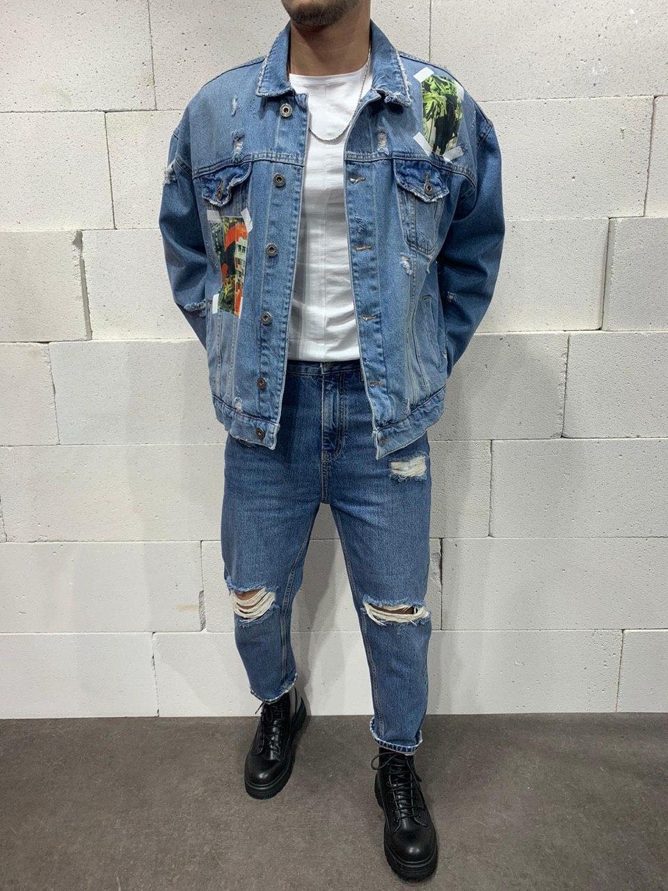 😝 Джинсы - Голубые мужские джинсы бойфренды (мом) широкие