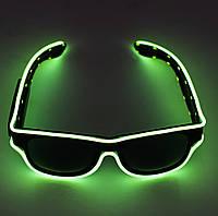 🔝 Светящиеся неоновые светодиодные LED очки, клубные, Салатовые, для дискотеки и вечеринки (доставка) 🎁%🚚