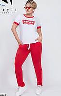 Трикотажный спортивный костюм женский красно-белый летний 48-54 размеров