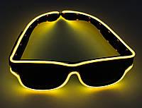 🔝 Светящиеся неоновые светодиодные LED очки, клубные, Оранжевые, для дискотеки и вечеринки (доставка) 🎁%🚚