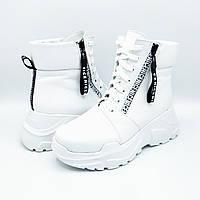 Женские зимние кожаные ботинки на натуральном меху Ka Б-042 бел.к