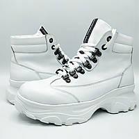 Женские кожаные зимние ботинки на натуральном меху Ka Б-044 бел.к