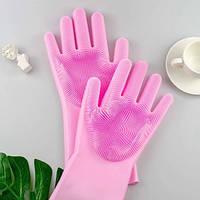 Перчатки силиконовые для мытья посуды Magic Brush