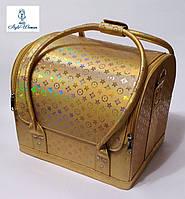 Бьюти кейс чемодан для мастера салонов красоты из кожзама на змейке золото луи