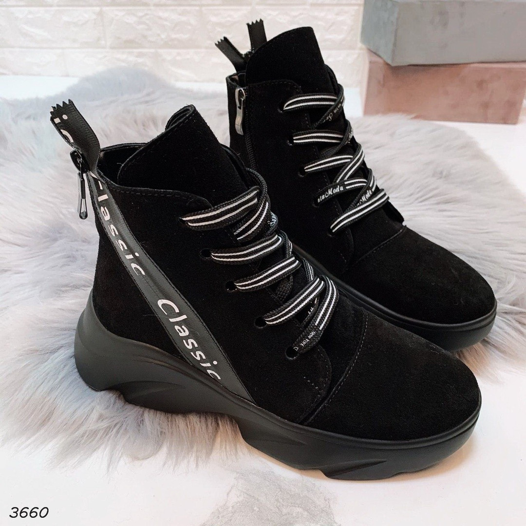 Черные высокие ботинки на шнуровке женские