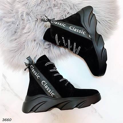 Черные высокие ботинки на шнуровке женские, фото 2