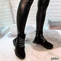 Черные высокие ботинки на шнуровке женские, фото 3