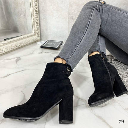 Замшевые ботинки на каблуке, фото 2