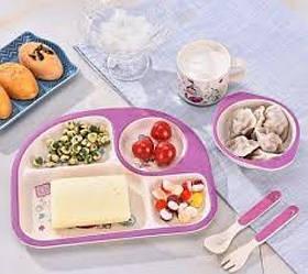 Детская бамбуковая посуда 3 в 1 Русалка (лиловый)