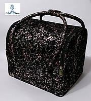 Бьюти кейс чемодан для мастера салонов красоты из велюра кожзама на змейке радужный фейерверк