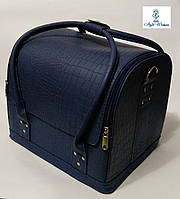 Б'юті кейс валізу для майстри салонів краси з шкірозамінника на змійці синій крокодил, фото 1