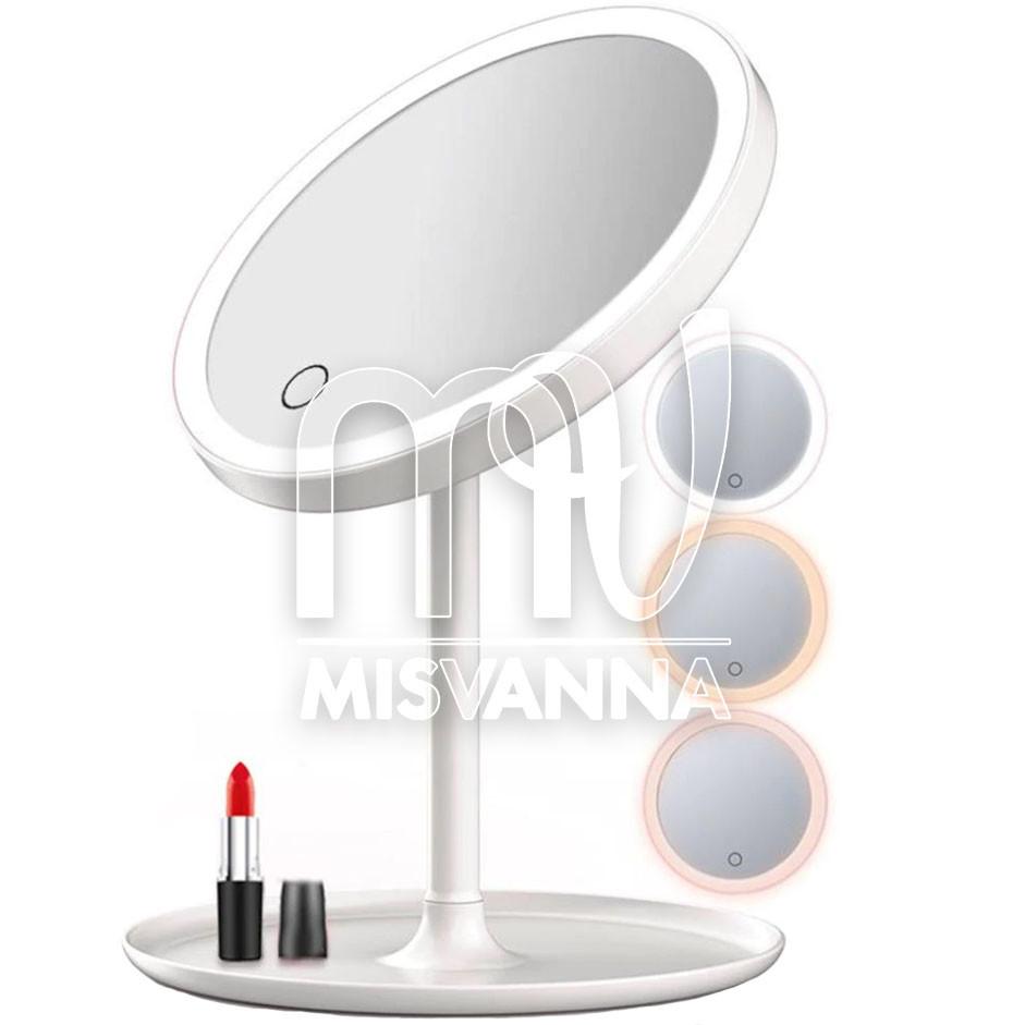 Зеркало для макияжа на подставке с тремя режимами света, белое