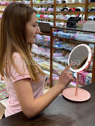 Зеркало для макияжа на подставке с тремя режимами света, белое, фото 2