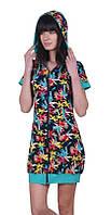 Халат женский с капюшоном на молнии, низ на резинке, ПАК/4 шт.,.(р.S-XL) Nicoletta