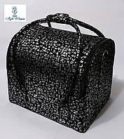 Бьюти кейс чемодан для мастера салонов красоты нубук на змейке алфавит черно серебристый