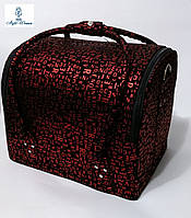 Бьюти кейс чемодан для мастера салонов красоты нубук на змейке алфавит черно красный