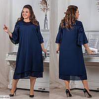 Стильное свободное платье шифон р-ры 46-60 арт 7142