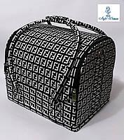Бьюти кейс чемодан для мастера салонов красоты нубук на змейке фенди черно белый