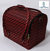 Бьюти кейс чемодан для мастера салонов красоты нубук на змейке фенди черно красный