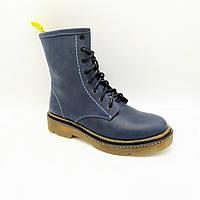 Женские зимние кожаные ботинки на натуральном меху Pl 83 син.к.бот.милит.