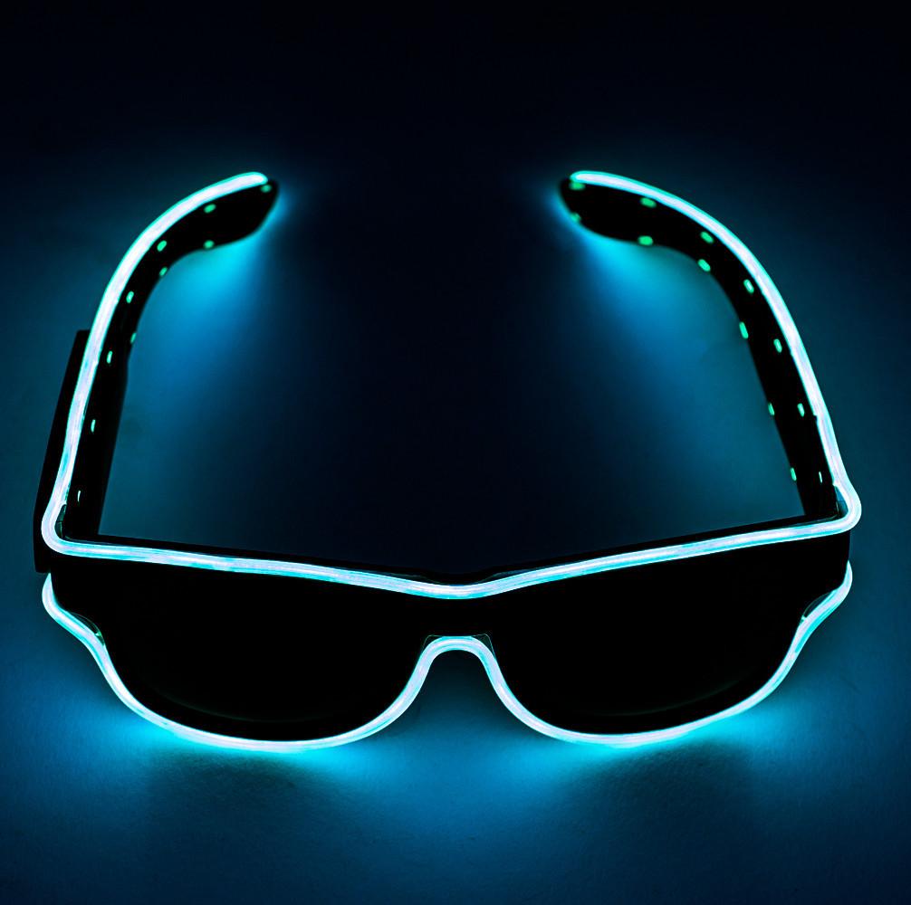 Светящиеся неоновые светодиодные LED очки, клубные, Синие, для дискотеки и вечеринок, с доставкой