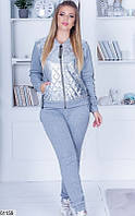 Женский спортивный костюм серый меланж 48-54р