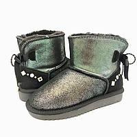 Угги женские зимние замшевые Lor 80236 серебро+черн