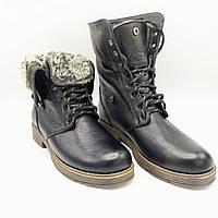 Женские зимние кожаные ботинки на натуральном меху G 43ш черные