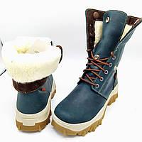 Женские зимние кожаные ботинки на натуральном меху Z24-6 зел.отворот