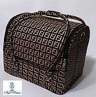 Бьюти кейс чемодан для мастера салонов красоты нубук на змейке фенди черно капучино