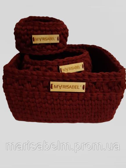 Набір в'язаних корзинок бордового кольору