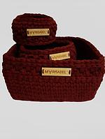 Набір в'язаних корзинок бордового кольору, фото 1