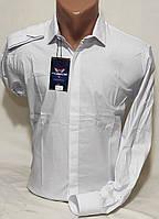 Рубашка мужская с длинным рукавом Noseda vd-0006 белая приталенная однотонная Турция стрейч коттон