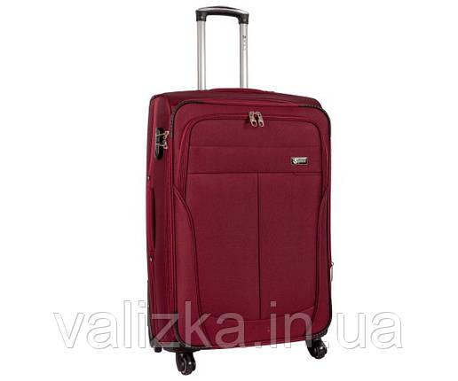 Текстильный чемодан большой клади Golden Horse на колесиках бордовый, фото 2