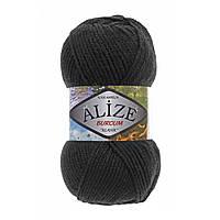 Акриловая пряжа (100%-акрил, 100 г/210 м) Alize Burcum Klasik 60(чёрный)