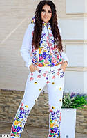 Женский спортивный костюм из принтованной плащевки белый  48-54р