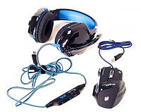 Набор геймера игровые наушники Kotion Each G2000 и мышка LED G-509-7 5180