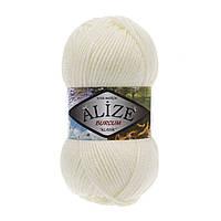 Акриловая пряжа (100%-акрил, 100 г/210 м) Alize Burcum Klasik 62(молочный)