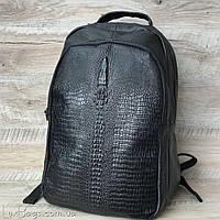 Мужской крутой кожаный рюкзак с выделкой под рептилию, фото 1