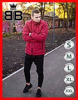 Куртка-пуховик мужская демисезонная без капюшона, повседневный стиль. Цвет красный!