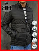 Куртка-пуховик мужская демисезонная без капюшона, повседневный стиль. Цвет болотный.