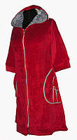 """Женский велюровый халат с капюшоном """"бантик"""" на замочке цвет: красный"""