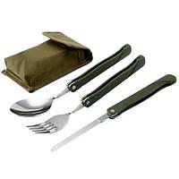 Вилка, ложка, нож туристический походный набор в чехле, милитари