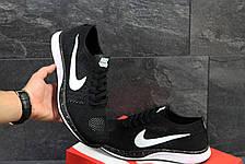 Чоловічі кросівки Nike Flyknit Racer,сітка,чорно білі 43,44 р, фото 2