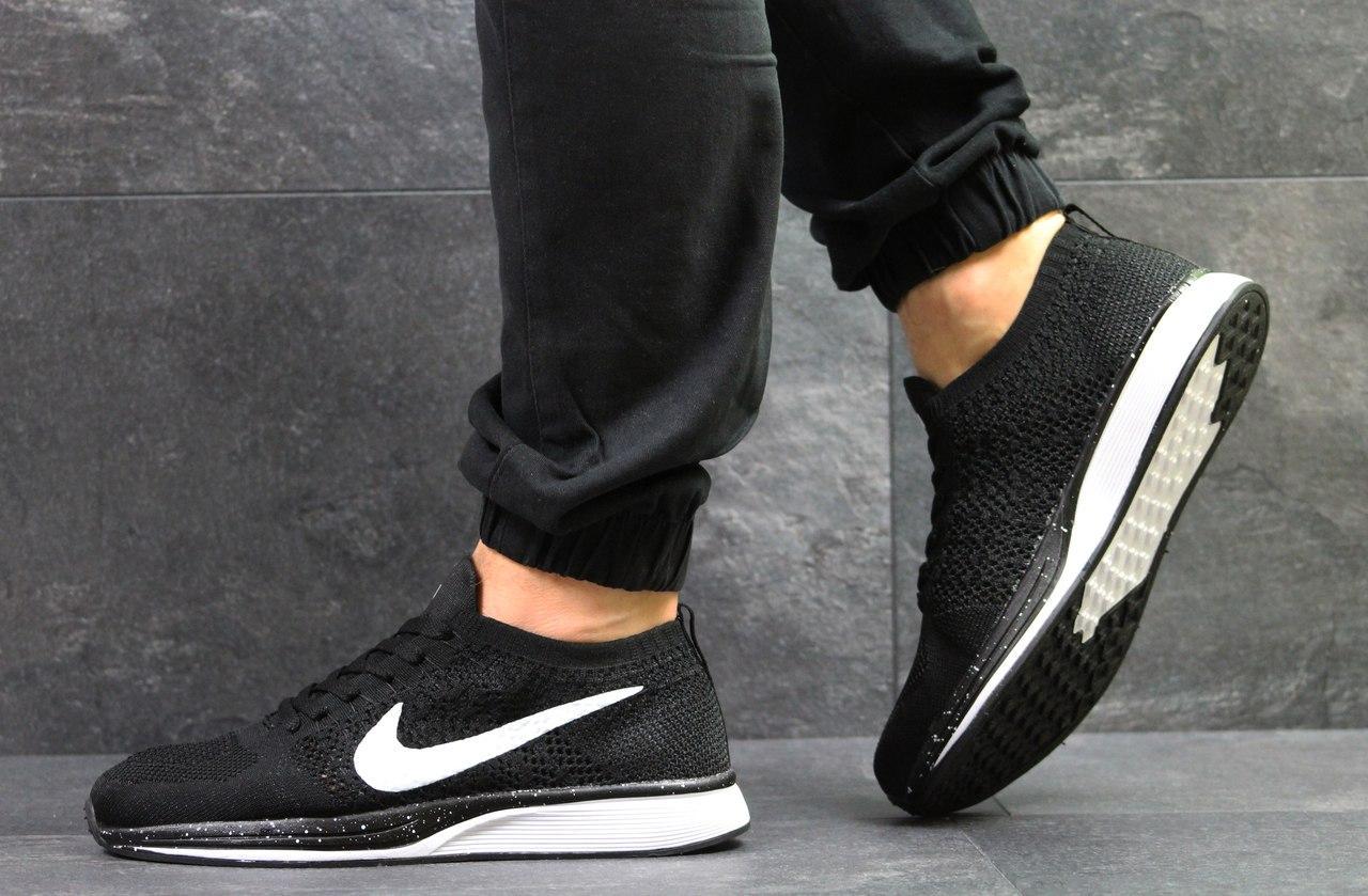 Мужские кроссовки Nike Flyknit Racer,сетка,черно белые 43,44р